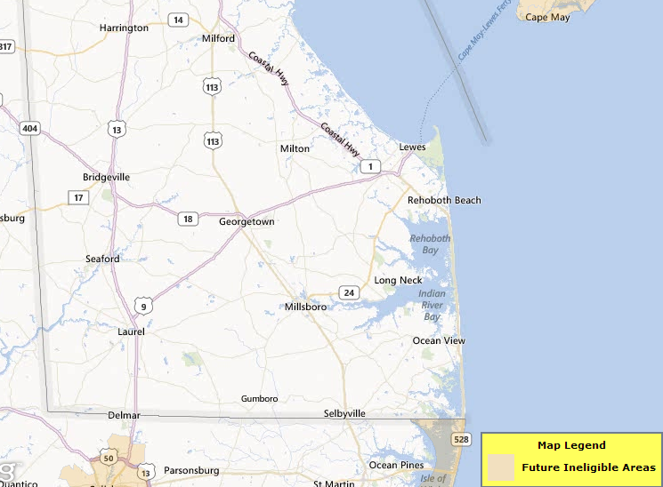 USDA Eligible Areas Sussex County Delaware